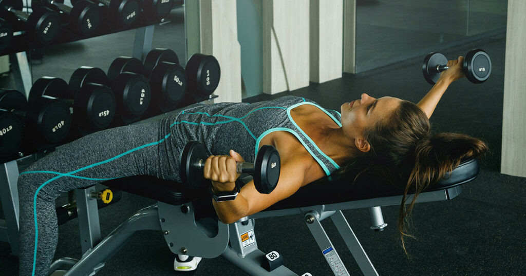 Woman chest workout